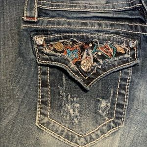 Miss Me Jeans - Miss Me Tribal Beaded signature cuff skinny jeans